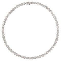 Alexander 21.41 Carat Diamond Tennis Halo Necklace 18 Karat White Gold