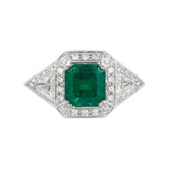 Alexander 2.50 Carat Emerald with Diamonds Ring 18 Karat Gold
