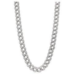 Alexander 28.57 Carat Long Diamond Cuban Link Necklace 18 Karat White Gold