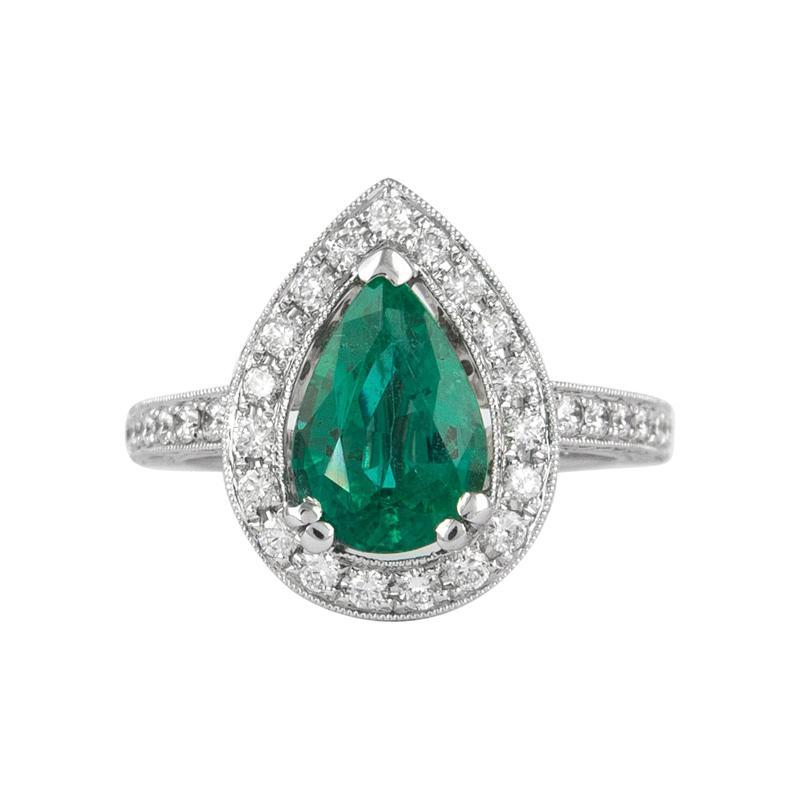 Alexander 3.03 Carat Emerald with Diamond Halo Ring 18 Karat White Gold