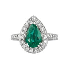 Alexander 3.03 Carat Emerald with Diamond Halo Ring 18 Karat White Gold