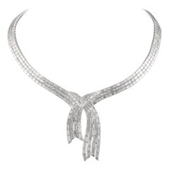 Alexander 31.55 Carat Baguette Cut Diamond 18 Karat White Gold Necklace
