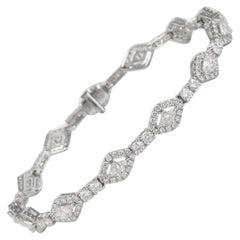 Alexander 3.81 Carat Trillion and Round Diamond Bracelet 18 Karat White Gold