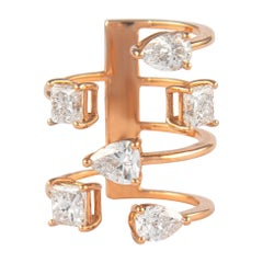 Alexander 3.91 Carat Floating Diamonds Ring 18 Karat Rose Gold