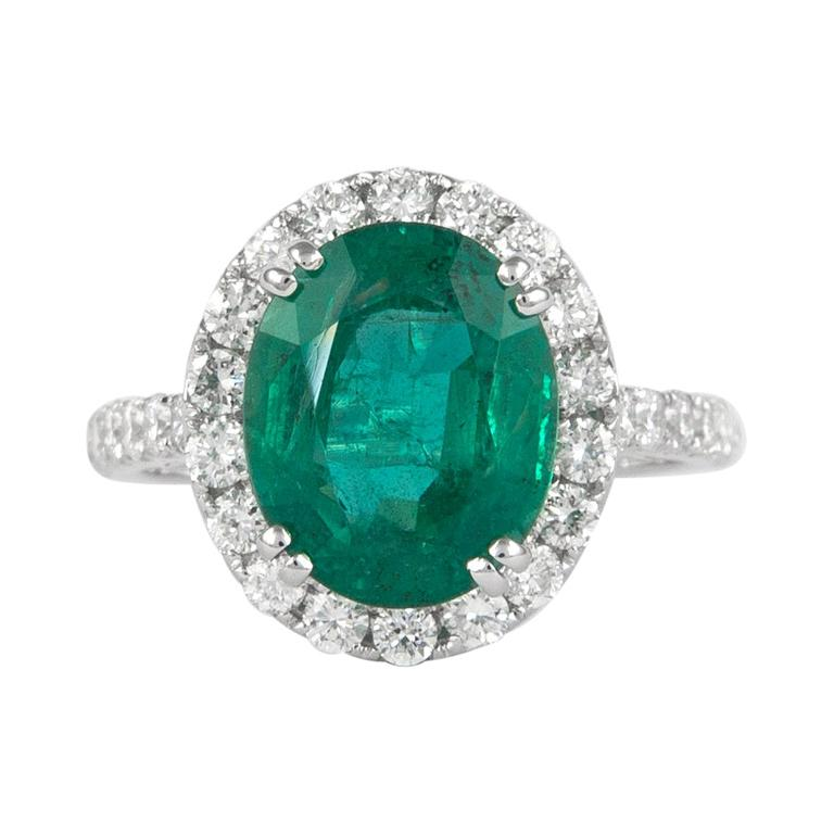 Alexander 4.05 Carat Emerald with Diamond Halo Ring 18 Karat White Gold