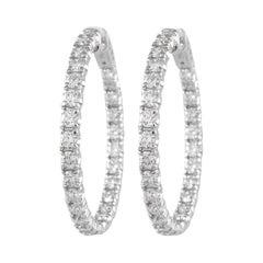 Alexander 4.24 Carat Diamond Hoop Earrings White Gold