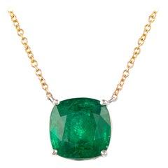 Alexander 4.95ct Cushion Emerald 18 Karat White & Yellow Gold Pendant Necklace