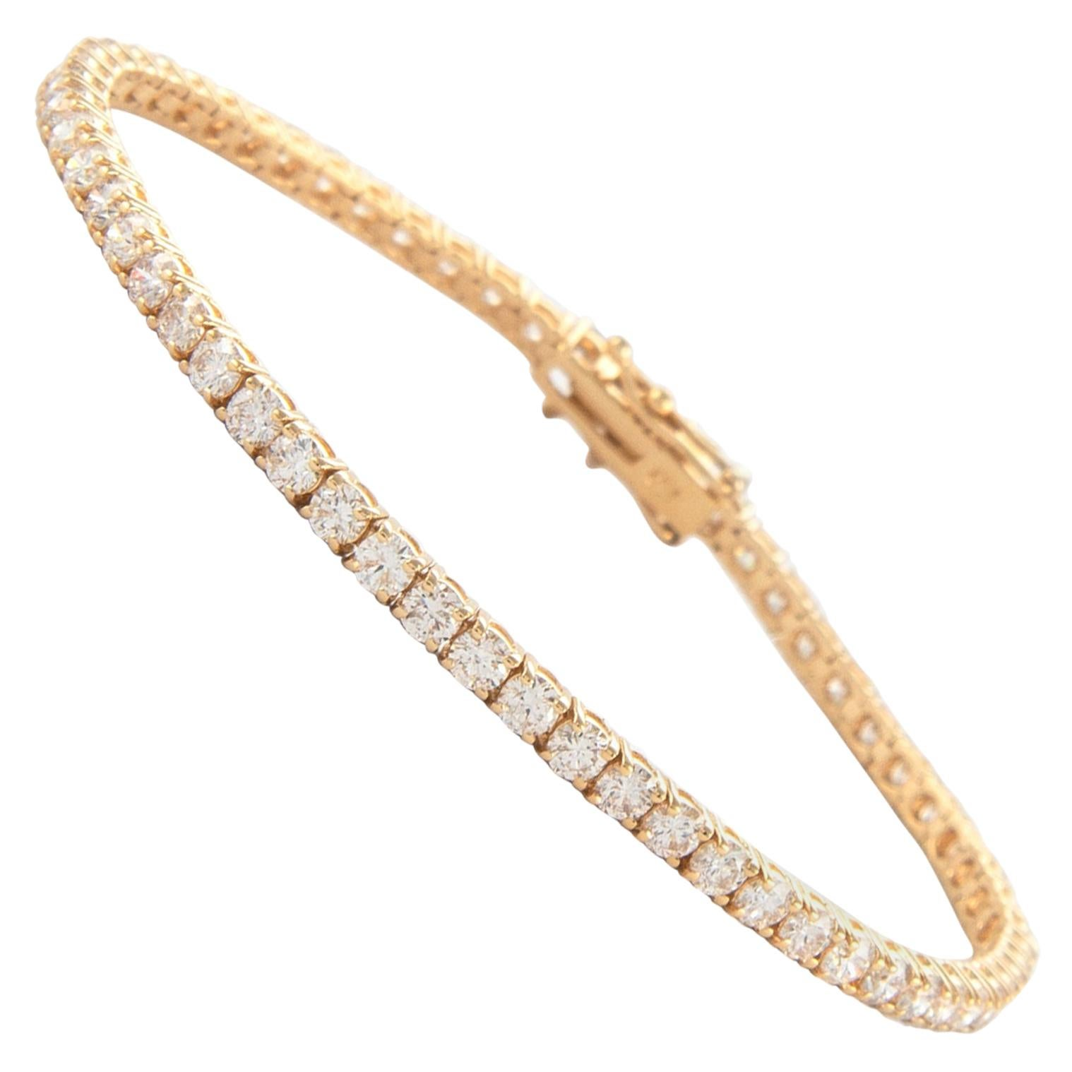 Alexander 5.12 Carat Diamond Tennis Bracelet 18 Karat Yellow Gold