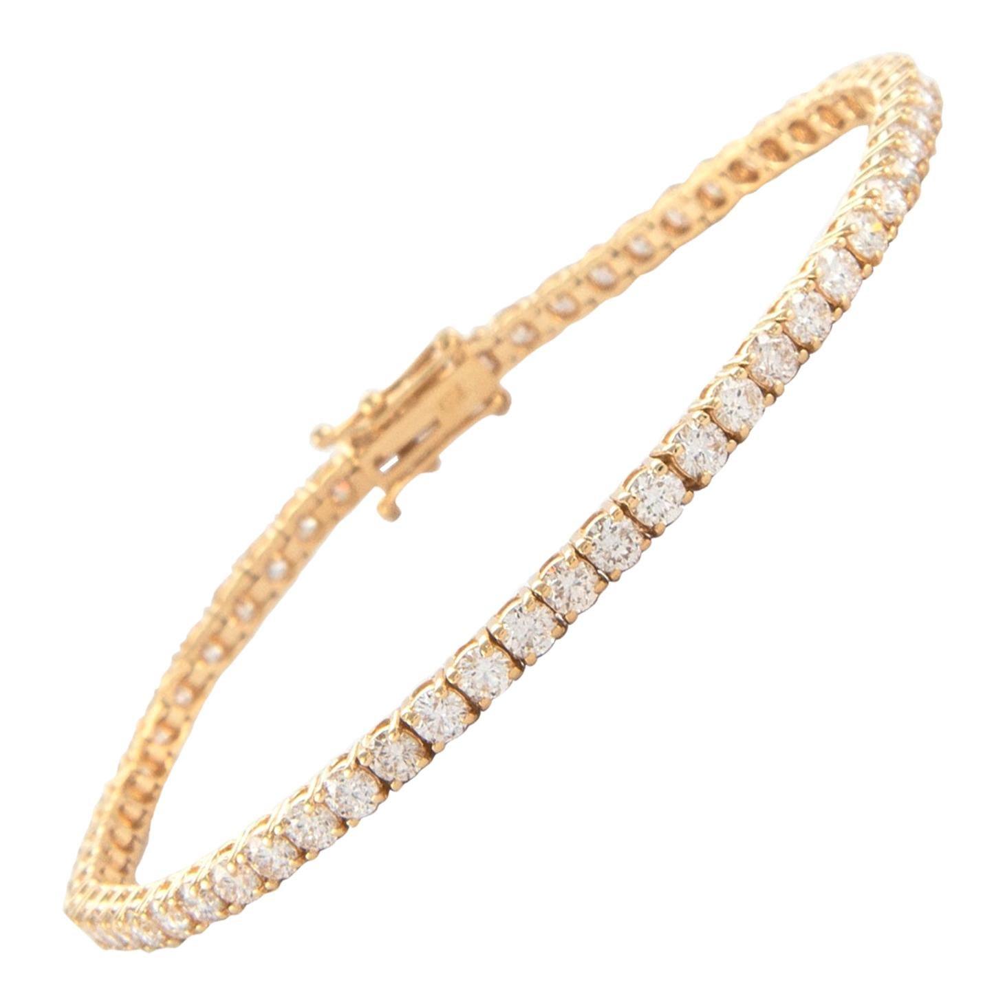 Alexander 5.41 Carat Diamond Tennis Bracelet 18 Karat Yellow Gold