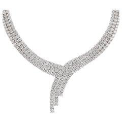 Alexander 55.75 Carat Diamond 3-Row Necklace 18 Karat White Gold
