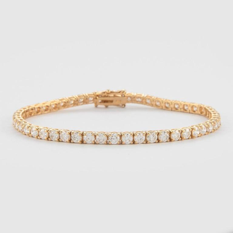 Modern Alexander 6.19 Carat Diamond Tennis Bracelet 18 Karat Yellow Gold For Sale