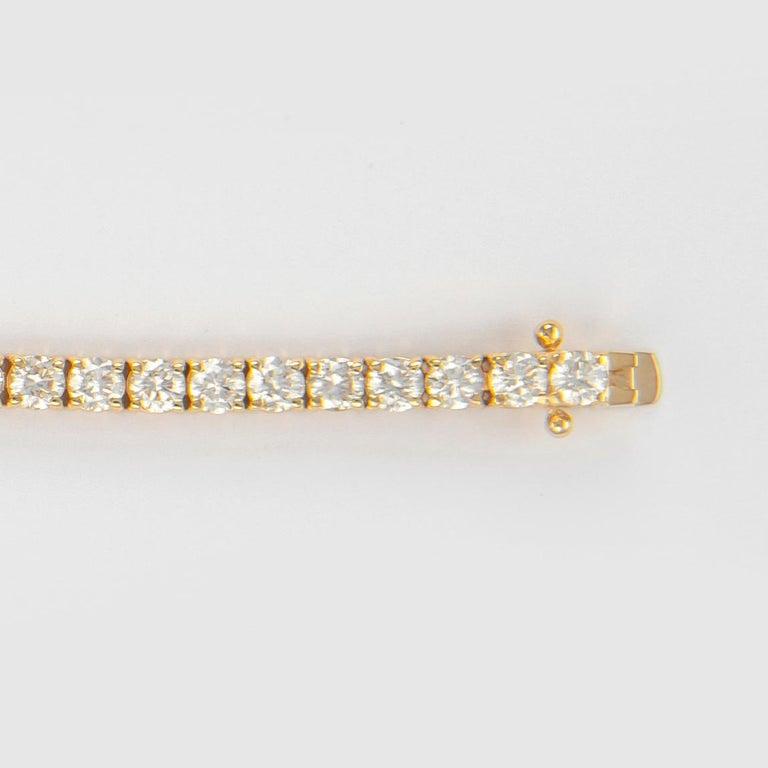 Alexander 6.19 Carat Diamond Tennis Bracelet 18 Karat Yellow Gold In New Condition For Sale In BEVERLY HILLS, CA