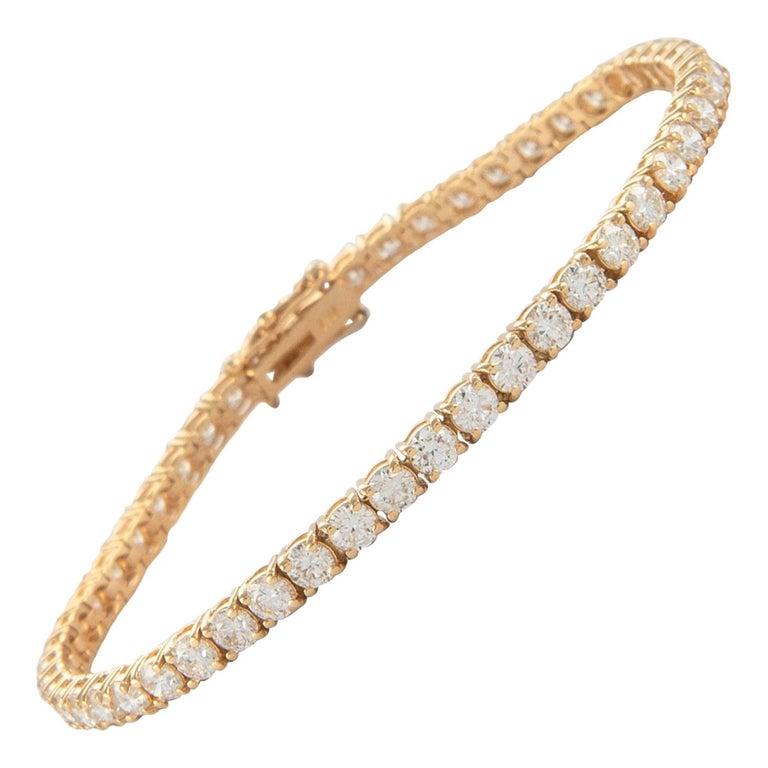 Alexander 6.19 Carat Diamond Tennis Bracelet 18 Karat Yellow Gold For Sale