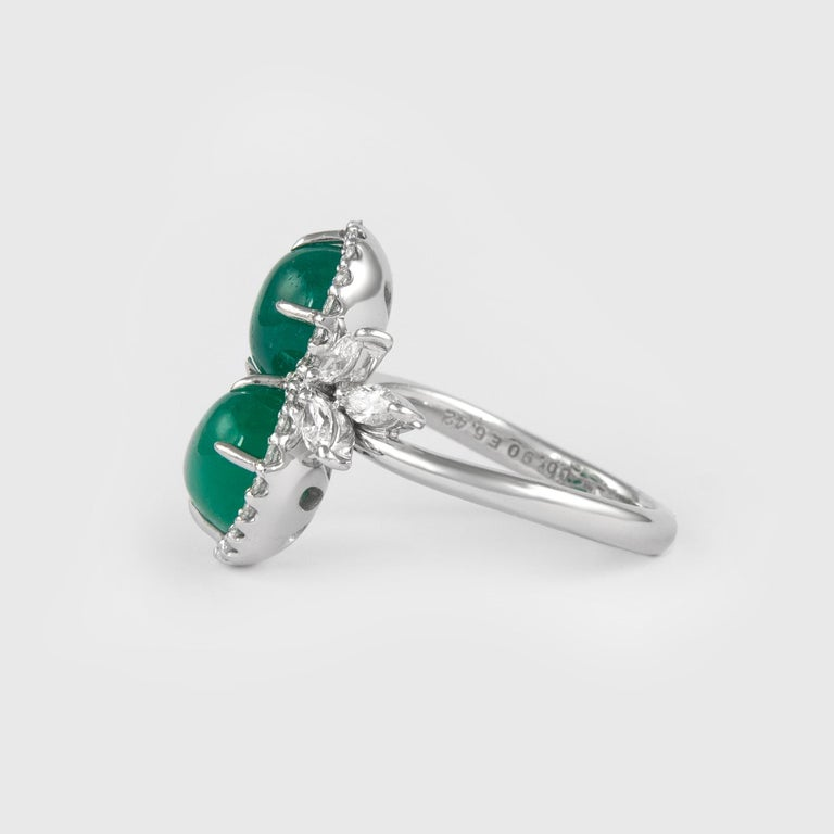 Contemporary Alexander 6.42 Carat Double Emerald Bypass with Diamond Halo Ring Platinum For Sale