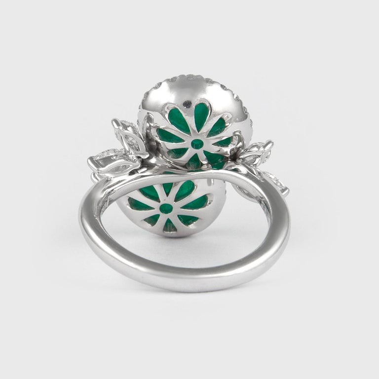 Cabochon Alexander 6.42 Carat Double Emerald Bypass with Diamond Halo Ring Platinum For Sale