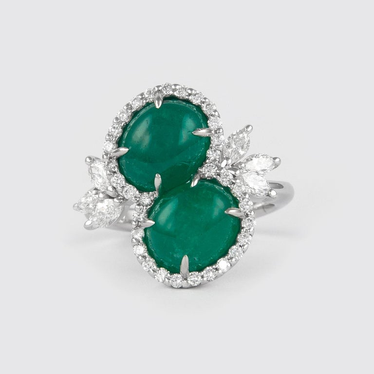 Alexander 6.42 Carat Double Emerald Bypass with Diamond Halo Ring Platinum In New Condition For Sale In BEVERLY HILLS, CA