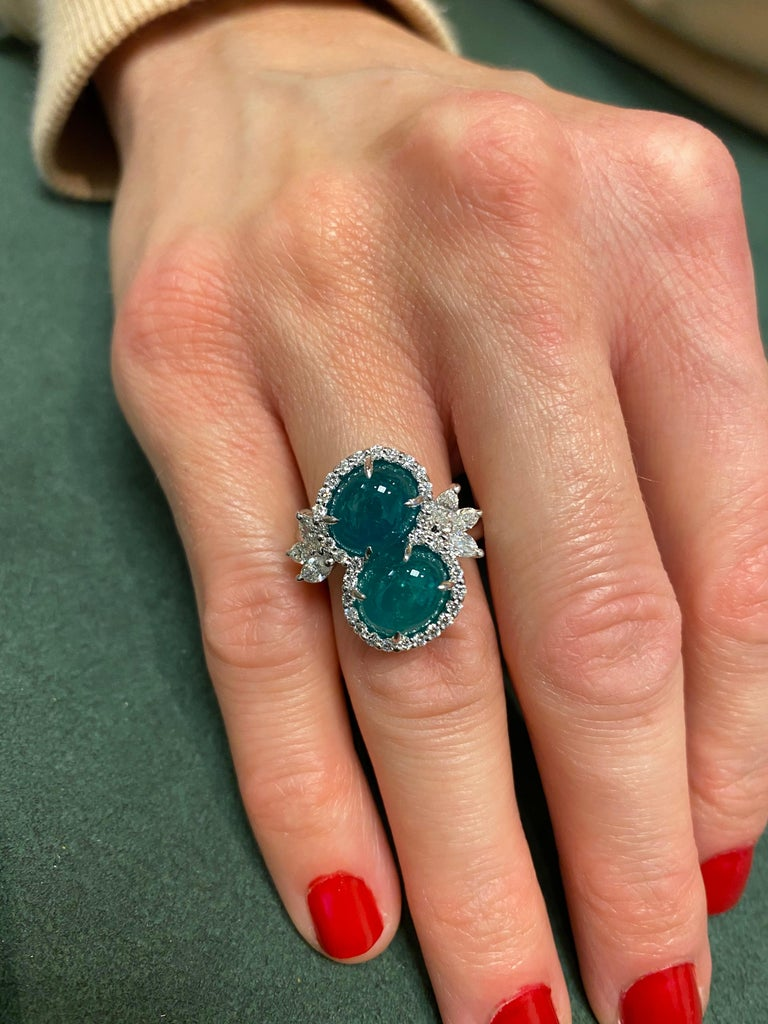 Women's Alexander 6.42 Carat Double Emerald Bypass with Diamond Halo Ring Platinum For Sale