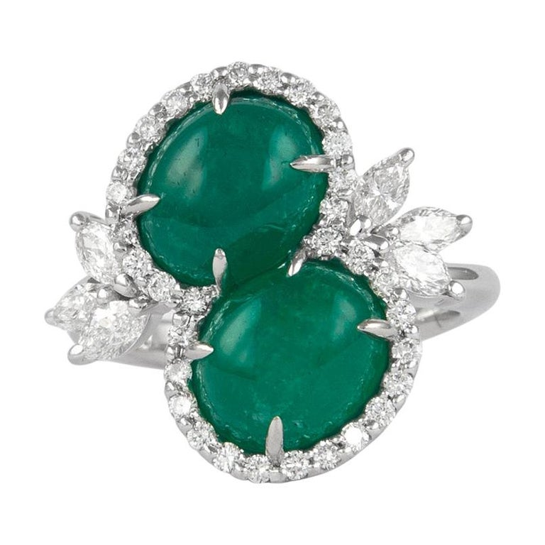 Alexander 6.42 Carat Double Emerald Bypass with Diamond Halo Ring Platinum For Sale