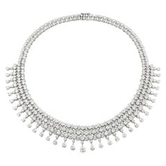Alexander 68 Carat Round Marquise and Pear Diamonds 18 Karat White Gold Necklace