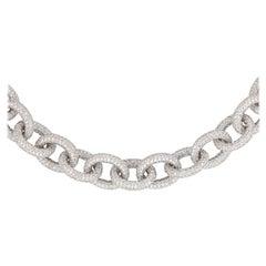 Alexander 69.81 Carat Diamond Chain Necklace 18 Karat White Gold