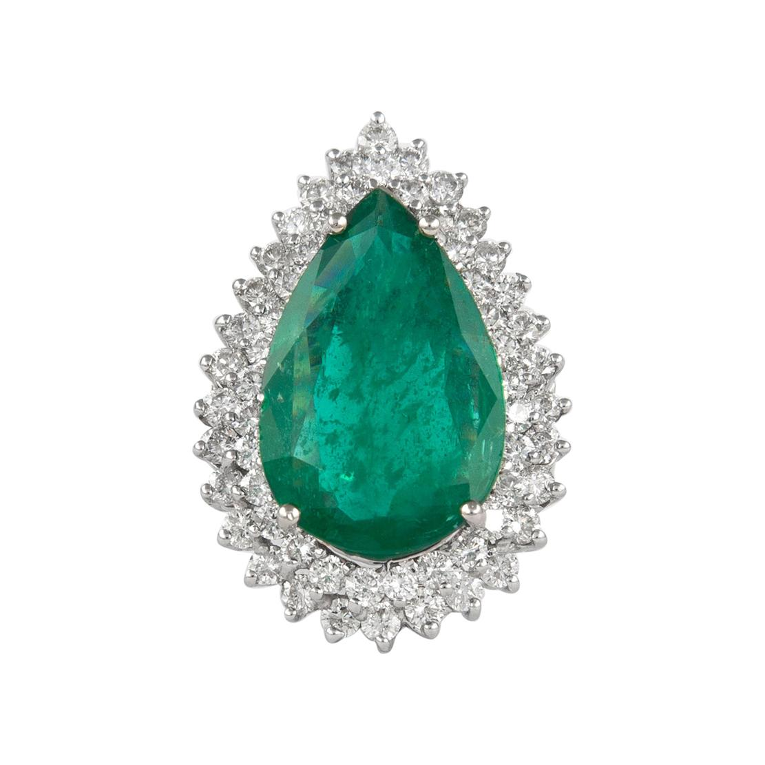8.11 Carat Emerald with Double Diamond Halo Ring 18 Karat White Gold