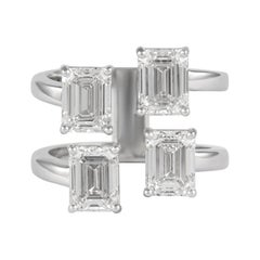 Alexander All GIA Certified 4.02 Carat Floating Emerald Cut Diamonds Ring 18k