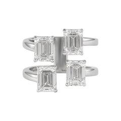 Alexander All GIA Certified 4.02 Carat Floating Emerald Cut Diamonds Ring 18k