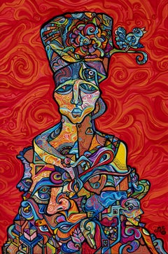 """Figurative Biomorphic Cubist Painting Titled, """"Stepmother Nature"""""""