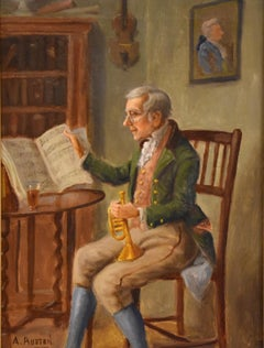 """Oil Painting by Alexander Austen """"The Trumpet Player"""""""