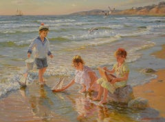 'Children Playing on the Beach' – A Boy and Two Girls playing with a Toy Yacht i