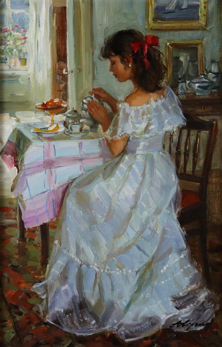 Elegant Lady Serving Tea - Painting by Alexander Averin