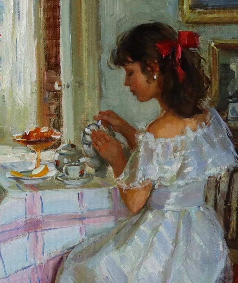 Elegant Lady Serving Tea - Impressionist Painting by Alexander Averin
