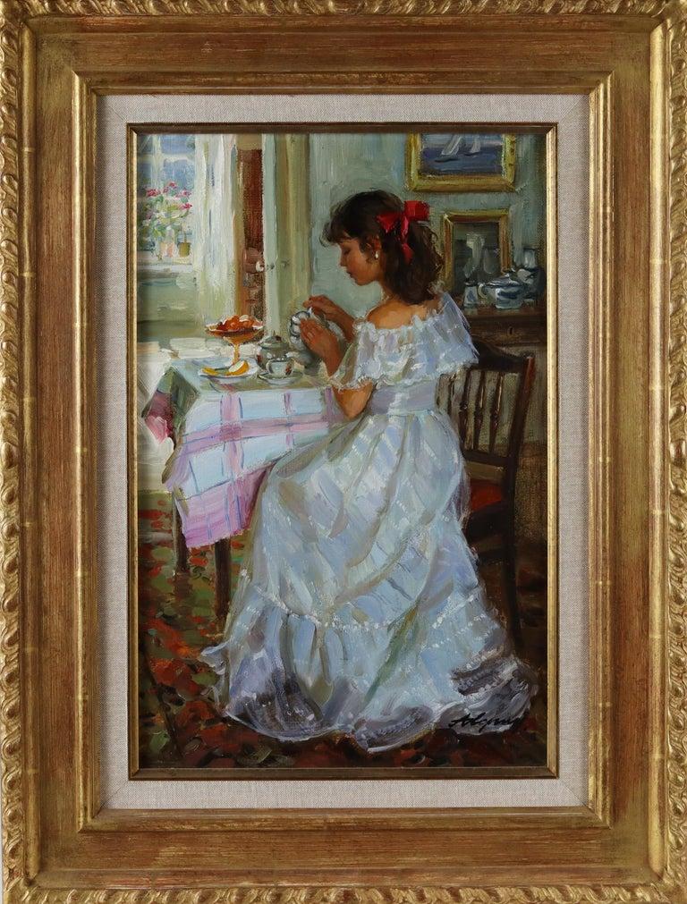 Alexander Averin Figurative Painting - Elegant Lady Serving Tea