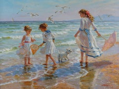 Three Girls and a White Terrier Playing on the Beach