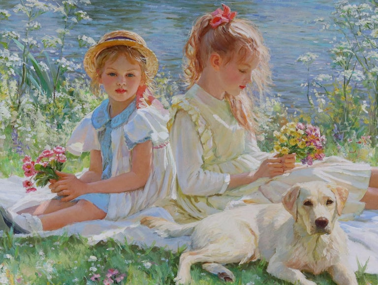 Two Young Girls Sitting on a Blanket on a River Bank with a Labrador Puppy - Impressionist Painting by Alexander Averin