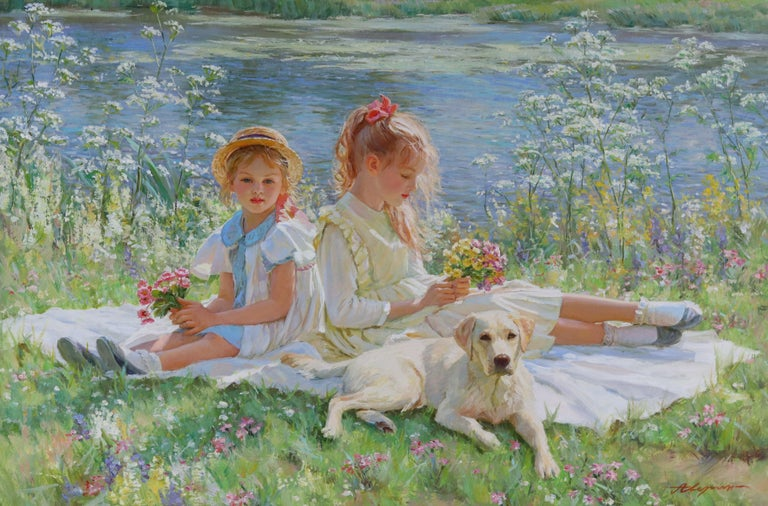 Alexander Averin Figurative Painting - Two Young Girls Sitting on a Blanket on a River Bank with a Labrador Puppy