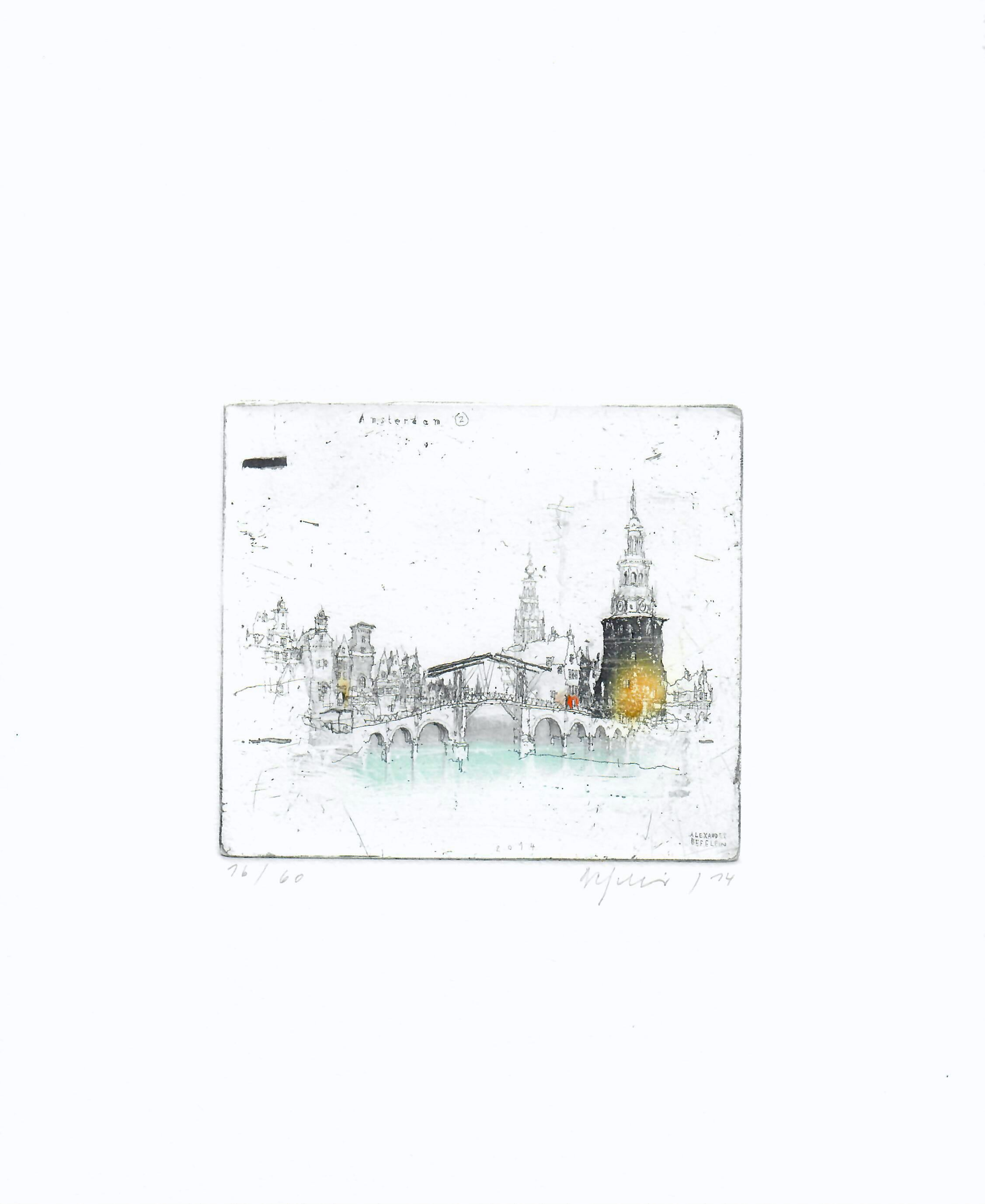 Amsterdam, Alexander Befelein Contemporary Limited Edition Print Etching Yellow