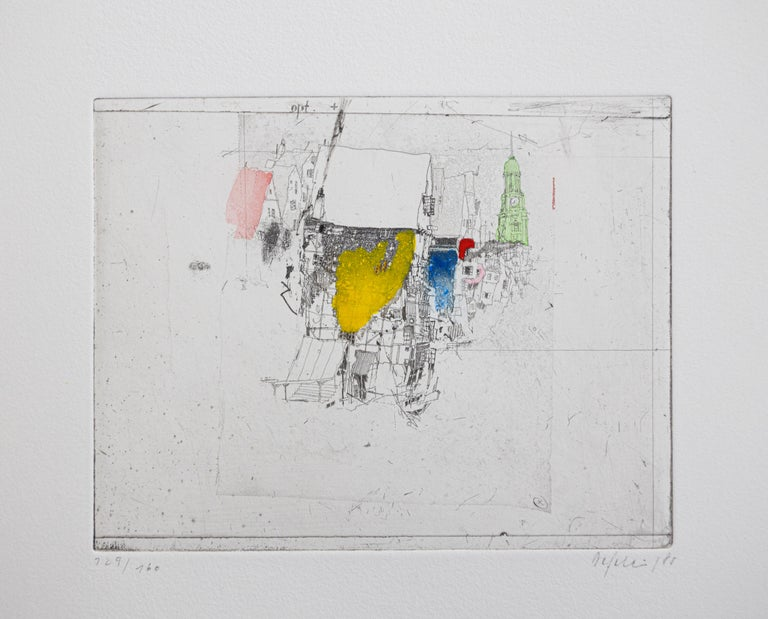 Hauser am Fleet, Alexander Befelein Contemporary Limited Edition Print Etching - Gray Landscape Print by Alexander Befelein