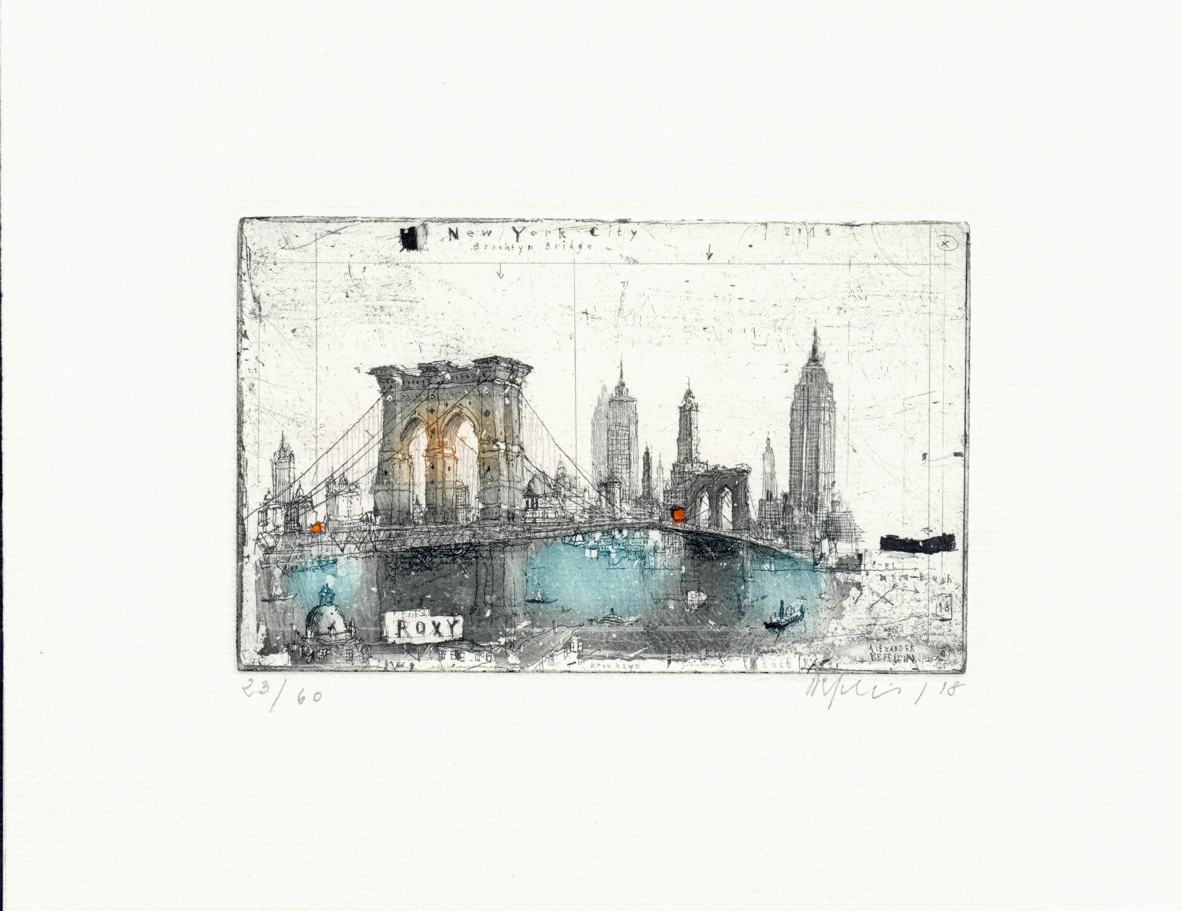 New York, Brooklyn Bridge, Alexander Befelein Contemporary Limited Edition Print