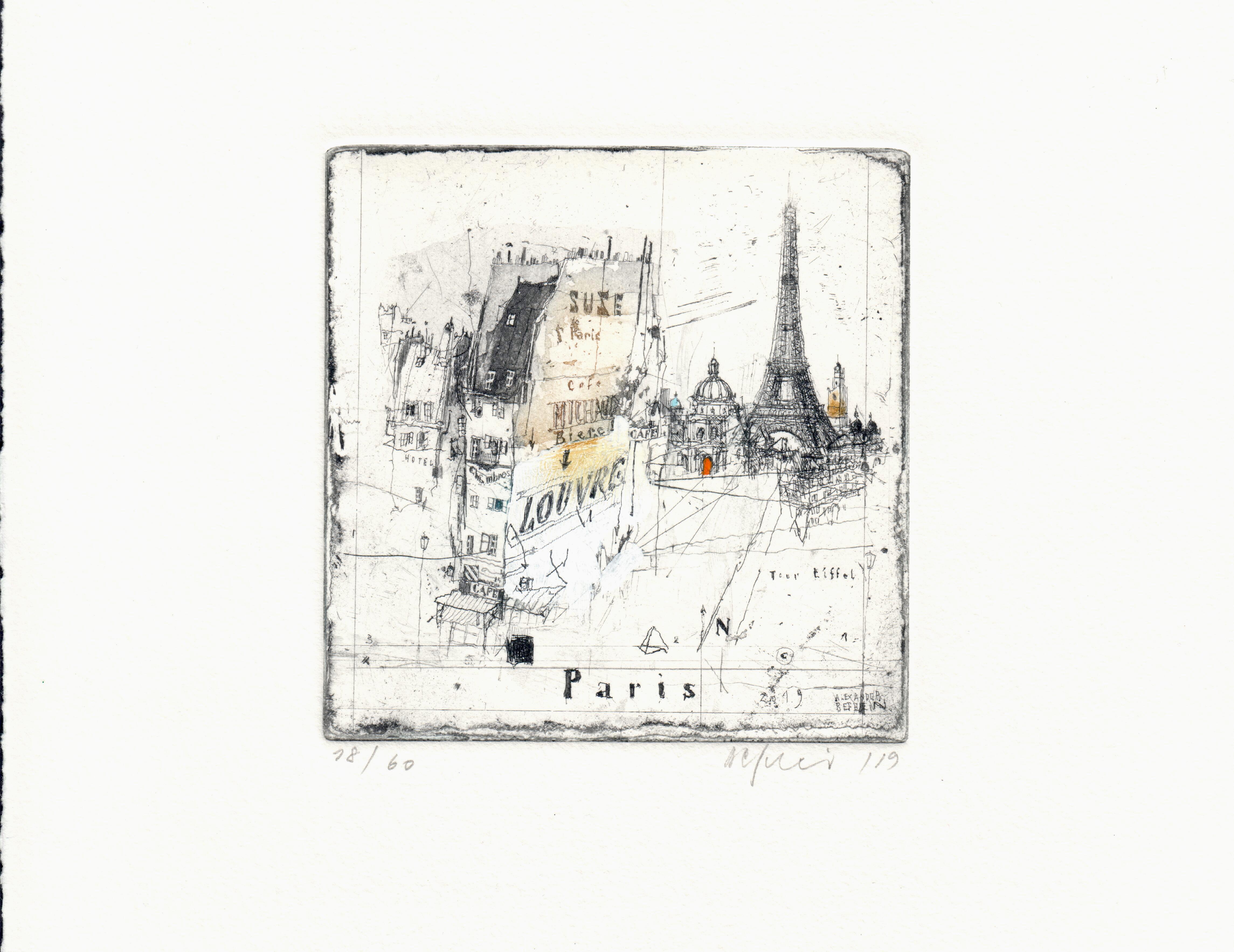 Paris, Alexander Befelein Contemporary Limited Edition Print Etching
