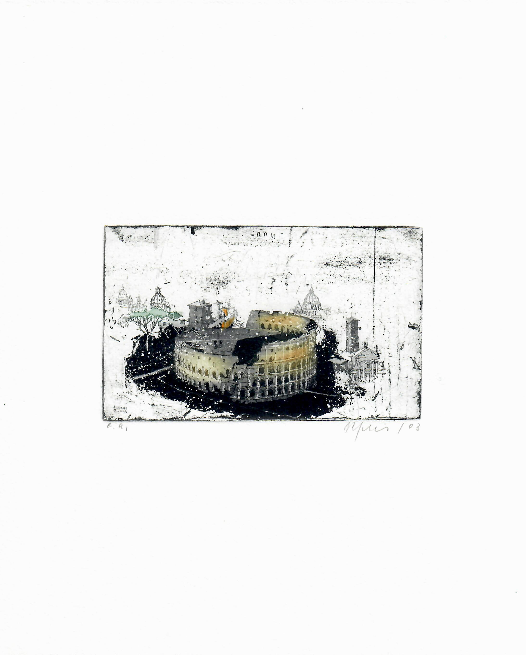 Rome Coliseum, Alexander Befelein Contemporary Limited Edition Print Etching