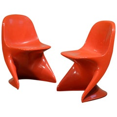 Alexander Begge Space Age Molded Plastic Child's Chairs by Casalino