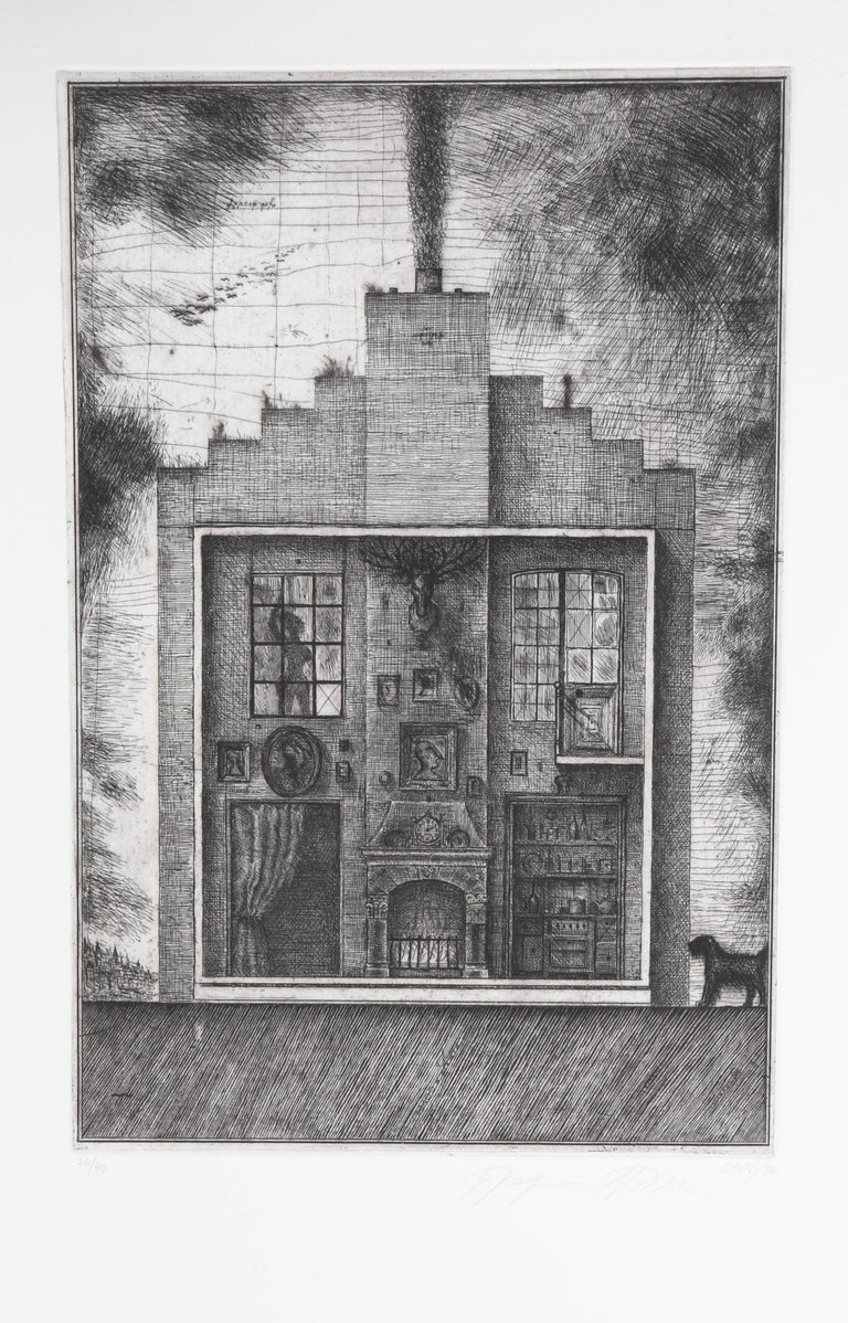 Alexander Brodsky and Ilya Utkin Abstract Print - House with Stag's Head from Brodsky and Utkin: Projects 1981 - 1990