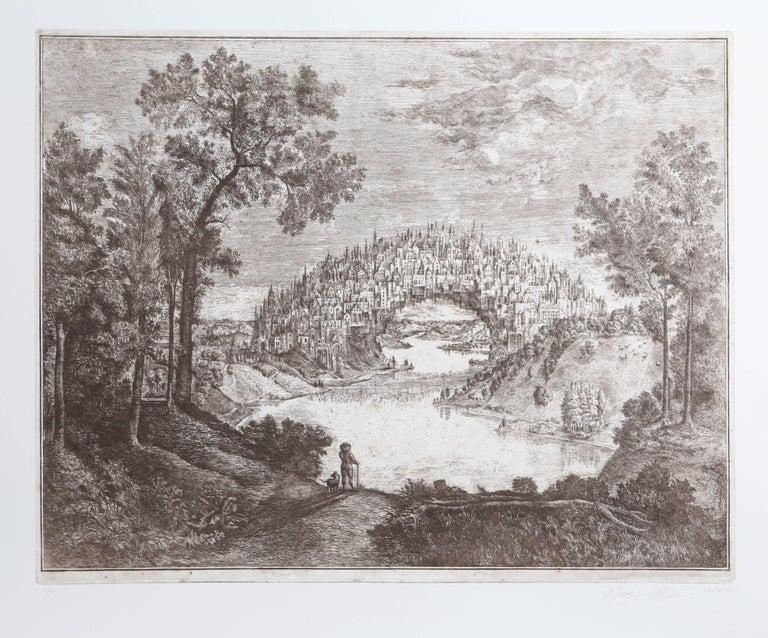 Alexander Brodsky and Ilya Utkin Landscape Print - Town Bridge from Brodsky and Utkin: Projects 1981 - 1990