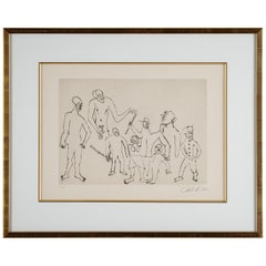 """Alexander Calder Etching, """"Characters with Canes"""""""