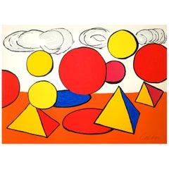 """Alexander Calder, Hand-Signed Lithograph n.57/100 from """"La Mémoire Elémentaire"""""""