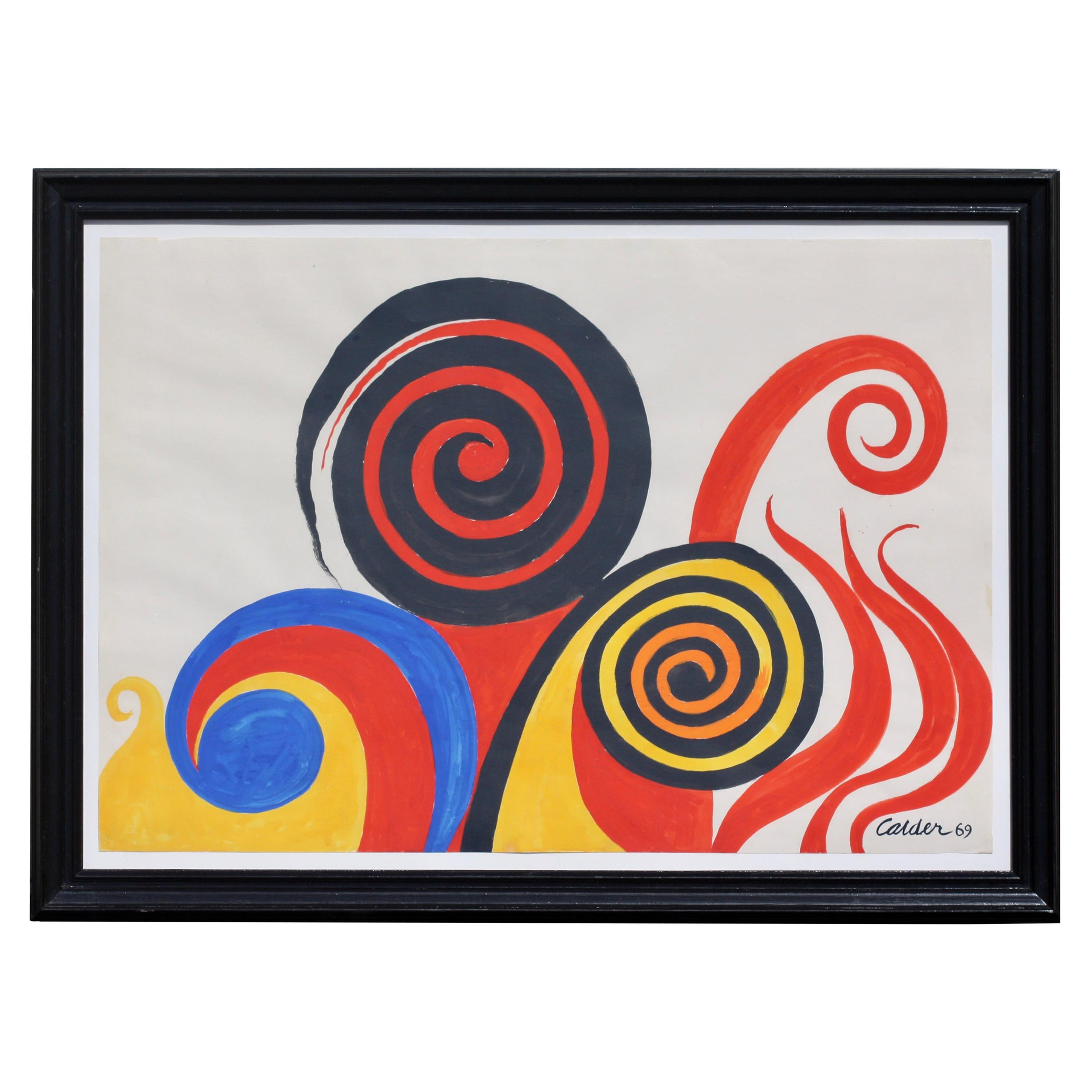 Alexander Calder Ink and Gouache on Paper