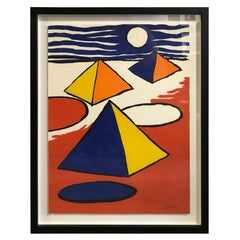 Alexander Calder Limited Edition Signed Lithograph Pyramids at Night, circa 1970