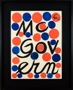 Original gouache painting by Alexander Calder titled 'McGovern'