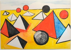 """Pyramids and Circles,"" Gouache Painting on Paper by Alexander Calder"